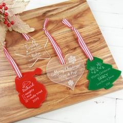 Customised Engraved Clear Star, Frosted Heart, Red Santa, Green Christmas Tree Acrylic Christmas Decorations Gift