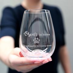 Personalised Engraved Inappropriate, Funny, Inappropriate, Humorous Dog Lover Stemless Wine Glass Christmas, Birthday, Christmas, Barware Gift