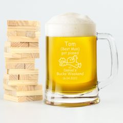 Personalised Engraved Bucks Party 500ml Beer Mug Present- i got pissed at Daniel's buck's weekend