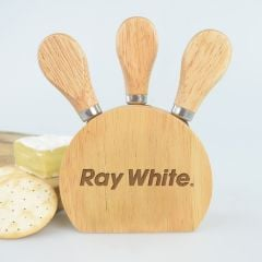 Personalised Engraved Promotional Company Logo Wooden 3-Piece Cheese Set