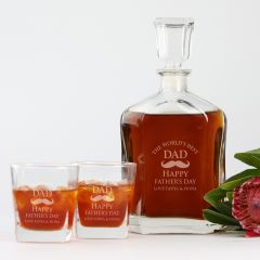 Personalised Engraved Premium Father's Day Decanter and twin scotch glass set Present