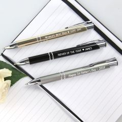 Personalised Engraved Father's Day Gold Black Silver Designer Pen Present