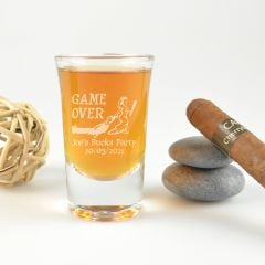 "Personalised Engraved ""Game Over"" Bucks Party Shot Glass Present"