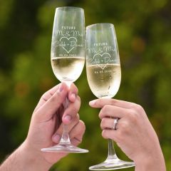 Personalised Engraved Engagement Champagne glasses- The Future Mrs & Mr Surname