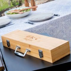 Personalised Engraved 3 Piece BBQ Utensils Set with Engraved Bamboo Carry Case