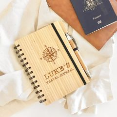Personalised Bamboo Travel Journal Birthday Gift