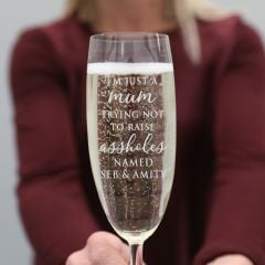 I'm Just a Mum Engraved Champagne Glass