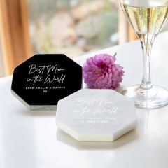 Personalised Engraved White or Black Octagonal Mother's Day Marble Coaster