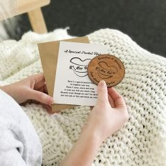 Personalised Engraved Wooden Round Pocket Hug Card Isolation Gift