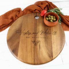 Personalised Engraved Wedding Round Acacia Serving Board Present