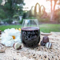 "Personalised Engraved ""It's Mum's Turn to Wine"" Mother's Day Stemless Wine Glass Present"