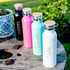 Personalised Engraved Birthday black, Pink Aqua & White Metal Water Bottle with Wooden Lid Present Gift