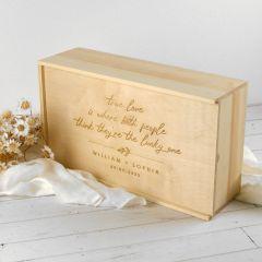 Personalised Engraved Wooden Wedding Memories Box Bride and Groom Gift