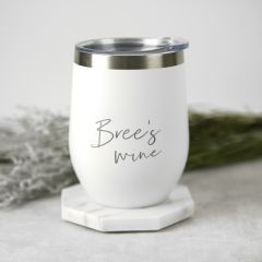 Custom Designed Engraved Birthday White Coffee Keep Cup Stemless Wine Sipper Silver Rim Present