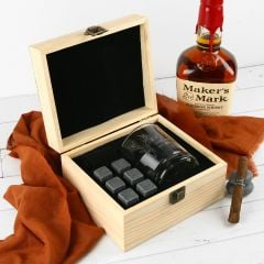Custom Designed Engraved Groomsman Scotch Glass and Whiskey Stone in wooden presentation Box