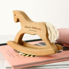 Personalised Engraved Child's Name Wooden Rocking Horse Present