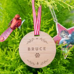 Personalised Engraved Pet Wooden Christmas Tree Decoration
