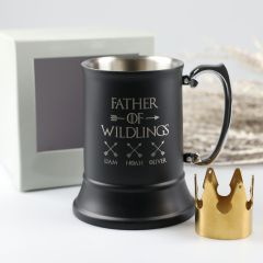 "Personalised Engraved Father's Day ""Father of Wildlings"" black Matte Beer Stein Mug Present with gift box"