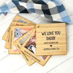 "Personalised Photo Printed ""We Love You Daddy"" Bamboo Photo Swivel Book"