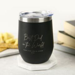 Personalised Engraved Stainless Steel Coffee Mug With Lid Father's Day Present
