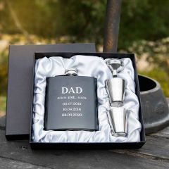 Personalised Engraved Father's Day Black Hip flask with silver shot glass & Funnel Set Present