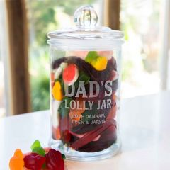 Personalised Engraved Father's Day Glass Lolly Jar Present