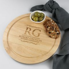 Personalised Engraved Father's Day Engraved Round Cheese Chopping BBQ Board Present