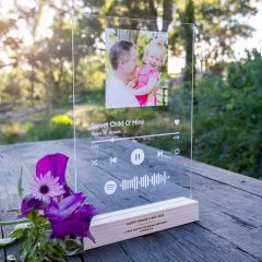 Personalised Printed and Engraved A4 Acrylic Spotify Song Code Plaque with Engraved Wooden Base Father's Day Present