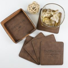 Personalised Engraved Father's Day Brown Leather Set of 6 Coaster and Coaster holder Present