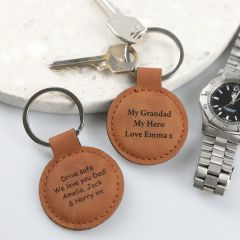 "Personalised Engraved Father's Day ""My Grandad My Hero"" Leatherette Keyring Present"