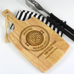Personalised Engraved Father's Day Wooden Cheese, Chopping, Serving Paddle Board Present