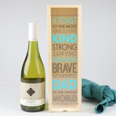 Personalised Colour Printed Father's Day Raw Natural Wooden Wine or Champagne Presentation Box or Gift