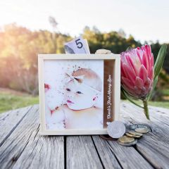 Photo Printed Child's First Wooden Money Box