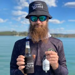"The Ultimate ""Keeping it Reel"" Fisherman Hamper Bucket Hat, beer bottle opener, Floatable Keyring and Stubby Holder"