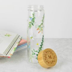 Personalised 550ml Glass Bottle with Native Australian Florals and Engraved Wooden Lid