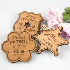 Laser cut and engraved personalised flower girl and page boy wooden badges