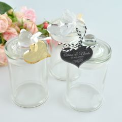 Lolly wedding reception favour jars with french tip lid and attached engraved customised gold, silver & black acrylic gift tag