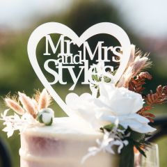 Professionally Laser Cut Mirror Silver Mr & Mrs Surname Heart shaped Acrylic Cake Topper