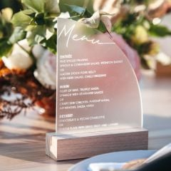 Personalised Engraved Frosted Acrylic Sail Wedding Menu with Wooden Base