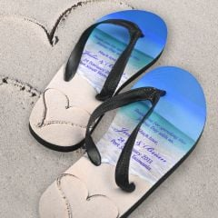 Custom designed print beach thong wedding favours for guests