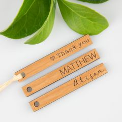 Engraved Personalised Modern Simple slim lined rectangle wooden wedding favour gift tags