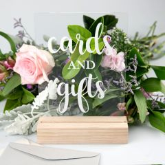 Engraved Clear Acrylic Wedding Gifts & Cards Sign with Wooden Base