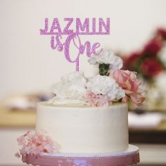 Laser Cut Glitter Pink Acrylic 1st Birthday Cake Topper