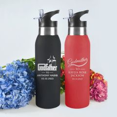 Personalised Engraved Godparent's Red & Black Sports Drink Water Bottles Present