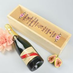 Personalised Colour Printed Godparents Wooden champagne or wine box with clear acrylic lid.