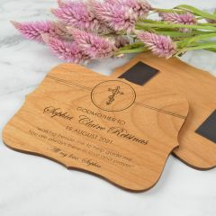 Personalised Engraved Wooden Godparents Magnetic Plaque Present