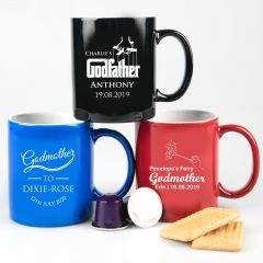 Personalised Engraved Godparent Black, Blue and Red Coffee Mug Present
