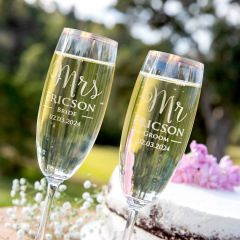 Personalised Engraved Luxe Gold Rimmed Wedding Champagne Glasses Twin Set