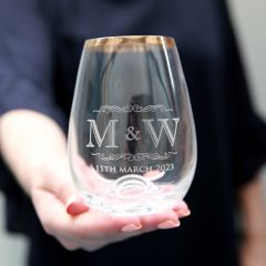 Personalised Engraved Gold Rimmed Wedding Stemless Wine Glass Bride and Groom Present