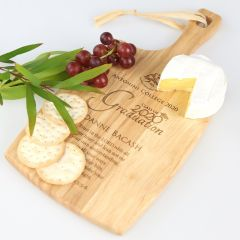 Personalised Engraved Graduation Cheese serving Chopping Paddle Board